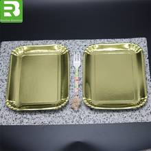 Gold coated disposable food grade raw materials paper plate for party/dinne