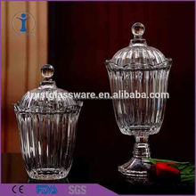 Wholesale High Quality Cheap China Factory Set of 2 clear glass canister container glass jar with lid