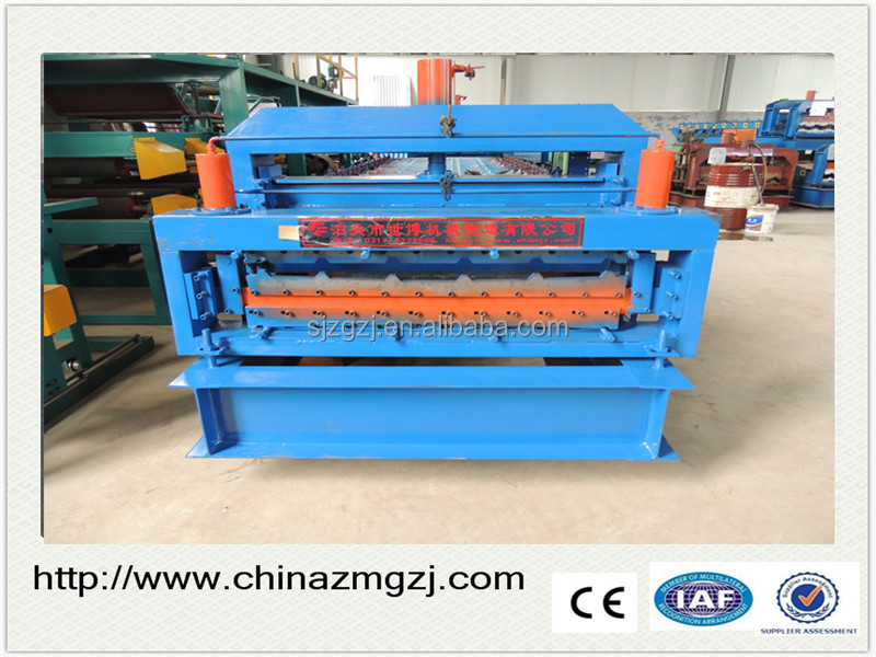 Hot sale double layer roman metal steel glazed roofing tile sheet cold roll forming making machine with for Russia