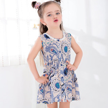 2017 latest design fashion Summer dresses girls clothes dress girl