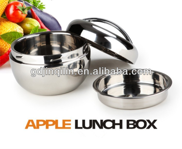 stainless steel apple shape kids insulated leakproof bento lunchbox for selling