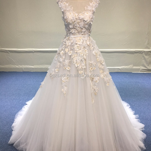 Custom Made Vestidos Novia Lace Fabric 3D Flowers Ivory Wedding Dress 2017 Luxury