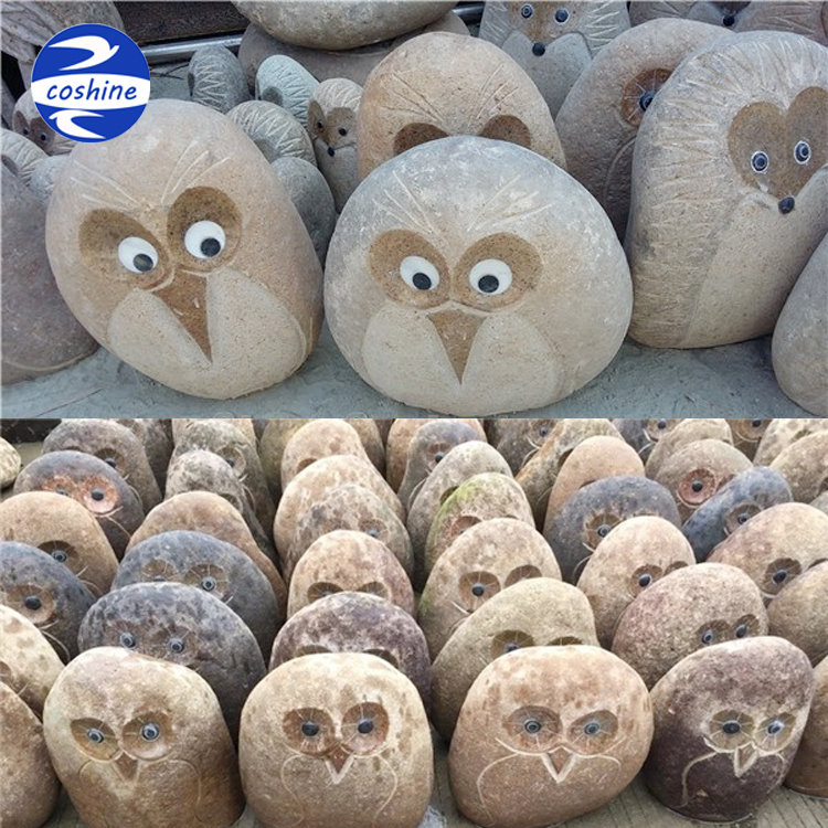 Cute cartoon animal sculpture, granite owl carving