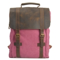2018 Good Quality Pink Elegant Retro Women Canvas Backpack with Cowhide Trim