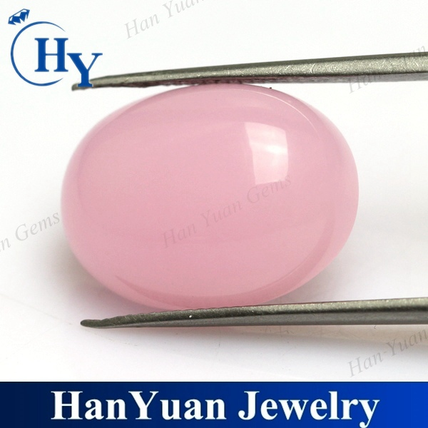China synthetic 7*9mm pink decorative flat oval glass cabochon