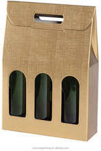 Golden & Embossed Corrugated carton Fluting wine box three Bottle Cardboard Wine Box Carrier