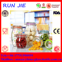 High quality glass storage jar/glass jar with metal clip/glass airtight jar
