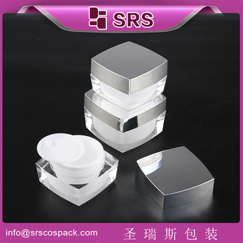Luxury acrylic gray color square cosmetic jar