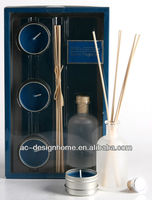 BLUE COLOR FRESH COTTON FRAGRANCE 100ML AROMA HOME REED DIFFUSER GIFT SET W/GLASS BOTTLE, 3 PCS TEALIGHT AND 5 PCS REED