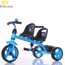 2018 OEM color toys cycle for kids 1 2 years/ ride on children tricycle two seat / two seat pedal car kids tricycle with trailer