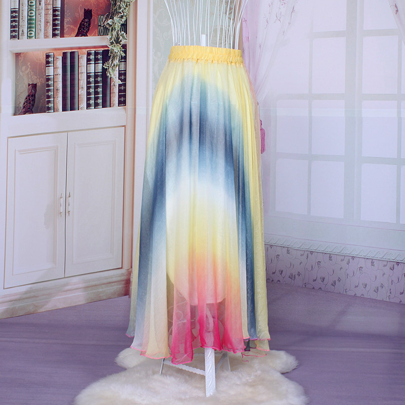 Wholesale 2016 New Fashion Korean Arabic Style Colorful Soft Long Skirt