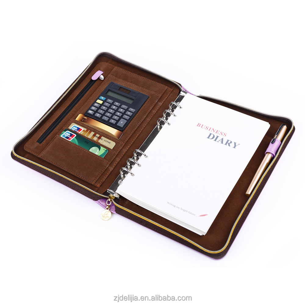 promotional 6-rings organizer for business use, organizer with zipper and calculator