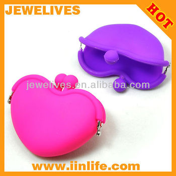 Colorful Heart Silicone phone bag coin purse silicone women bags silicon purses and bags