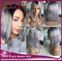 Alibaba new products two tone color virgin malaysian hair short bob style grey ombre full lace wigs for black women