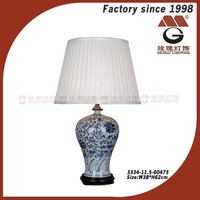 blue ceramics table lamp with pleated fabric shade