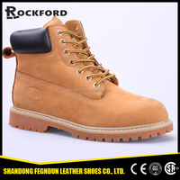 Soft leather western low cost men work shoes FD6318