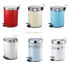 Stainless Steel Foot Pedal Garbage Bin, Colorful Sanitary Bin
