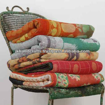 old print kantha sari throw