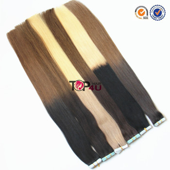 Remy cuticle seamless skin weft tape in hair extensions