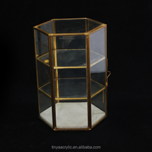 "8.2"" height Hexagon three tiers plus one door Vintage Brass & Clear Glass Box / Plant Terrarium Display"