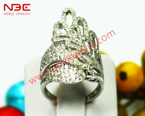 2014 Big fancy micro pave setting silver ring, AAA grade cz, high shine polished