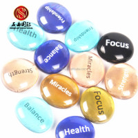 Inspirational stones wholesale hand made glass semi-precious marble river stone engraved words