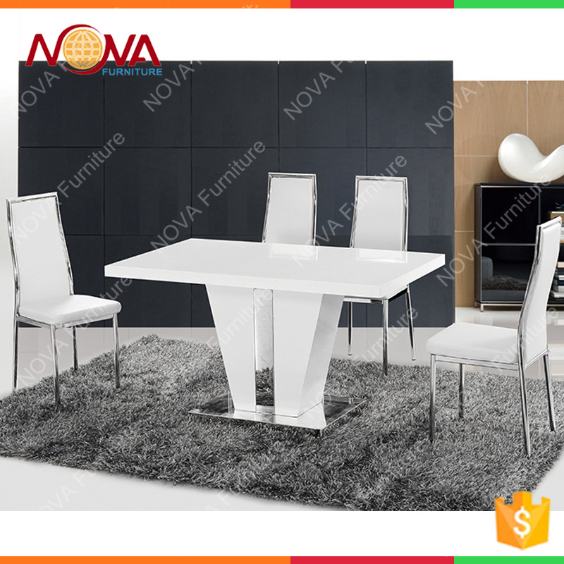 Home furniture luxury design high end modern appearance heavy duty wooden dinner room used MDF dining table and chairs for sale