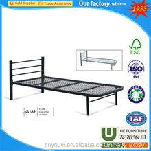 YIWU bed room furniture metal steel ironframe wood double bunk bed set with powder coating for home furniture