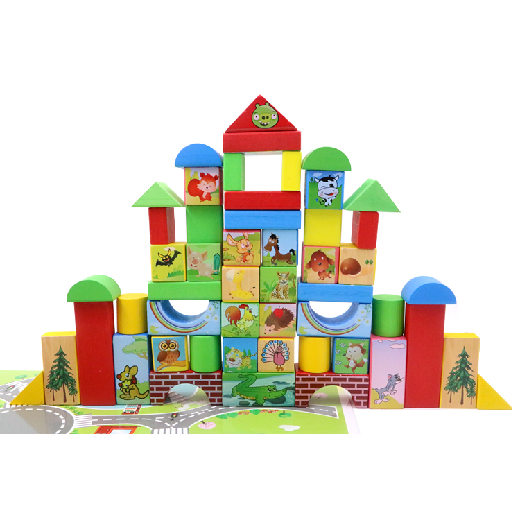 FQ brand hot sell material kids educational <strong>toy</strong> kid wooden <strong>toy</strong> 68pcs children's education <strong>toys</strong> color wood animal building blocks