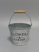metal flower bucket with letters embossed wooden handle white wash