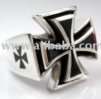 Harley Rider Maltese Iron Cross .925 Sterling Silver Men's Motorcycle Biker Rings Jewelry Accessories