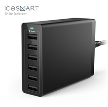 6 port Smart Wall Charger, Qualcomm Quick Desktop Charge 2.0 50W Wall USB Travel Charger