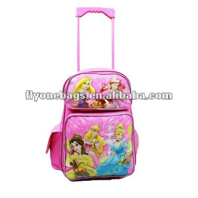 Princess Trolley School Bags For Children ,Kids Travel Rolling Backpacks