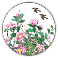 camellia water absorbent ceramic coaster