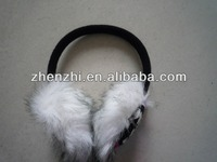 Fashion 100% acrylic jacquard ear muffs with fur