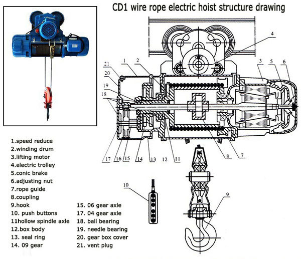 electric hoist light weight  electric wire rope hoist for