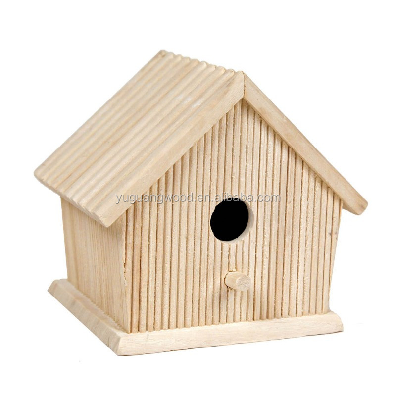 FSC cheap handmade small wood crafts bird house model wholesale pet cages