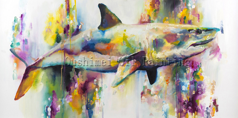 X Series Hand-painted High Quality Shark Oil Painting On Canvas Impression Sea Animal Jaws Wall Painting Art Decoration