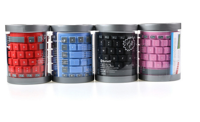 Water-proof Wireless Bluetooth Roll-up Silicone Keyboard With Transparent Packing Jar