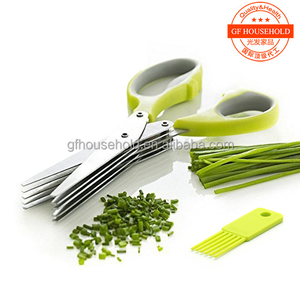 Multipurpose 5-Layers Herb Mincer Scissor with a Cleaning Brush, Time-Saving Kitchen Shears Chop Herbs Fast and Easy Clean