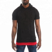 Jingyu Factory Red and Black Layered Hem Slim Fit Gym Short Sleeve Hooded Hoodie Men's T-shirts with No Pockets