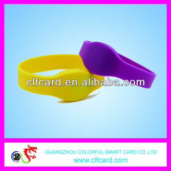 Colorful chip ntag203 RFID Silicone Wristband tag