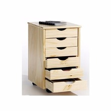 Solid wood pine wood files cabinet with 6 drawers for office furniture