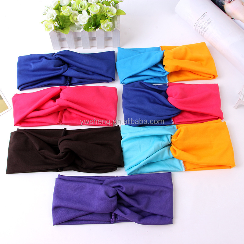 Wholesale Latest turban headband Cotton Elastic Sports Wide women Headbands for women hair accessories