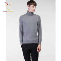 Turtleneck Mens Heavy Wool Knit Plain Pullover Sweater