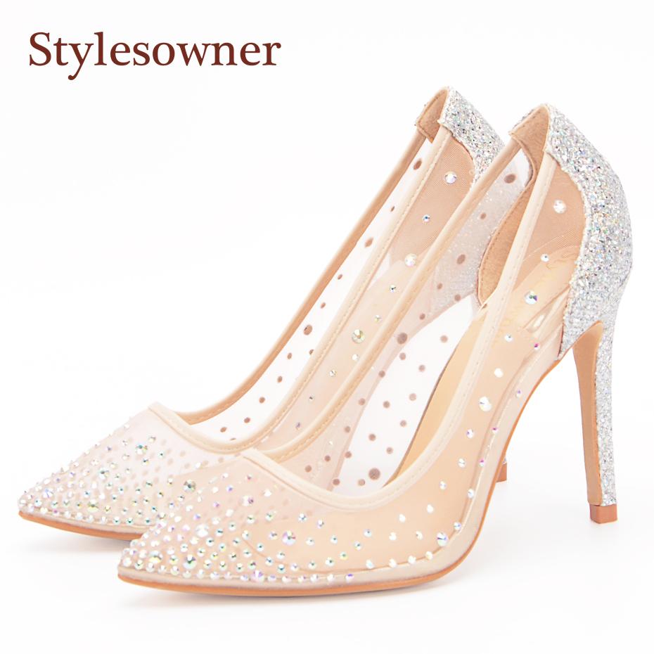 Stylesowner Mesh Crystal High Heels Pumps Thin Heels Women Pumps Ladies  Girl Fashion Summer Pointed Toe 1849160c1495