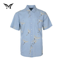 Latest short sleeve cotton funny printed denim shirts for men pictures