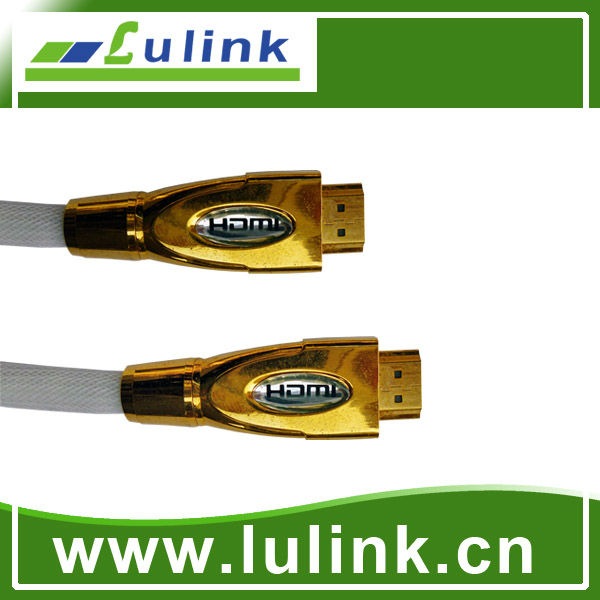 Metal casing type HDMI cable, 19PIN M/M,Chromium metal casing outer mold, shell color gold