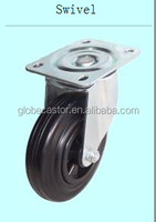 160mm black rubber material thread removable caster wheels,roller baearing heavy duty castor for Bin Washing Machines
