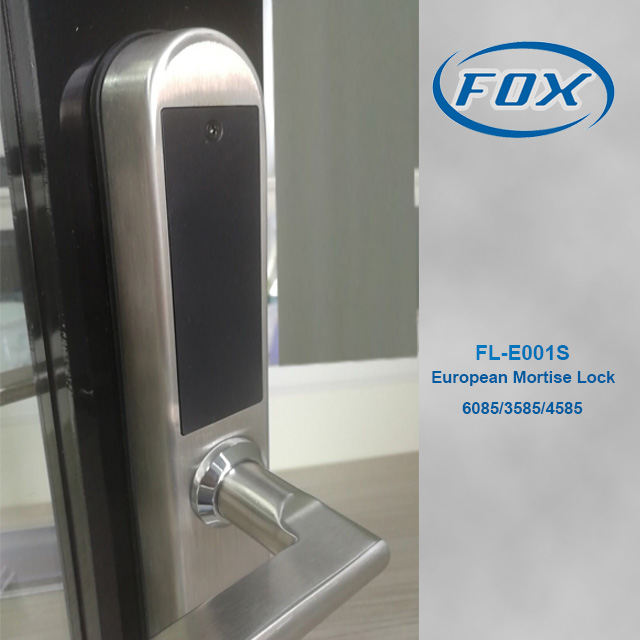 FOX updated 2019 european standard mortise rfid hotel door locks FL-E001S with 5 latches
